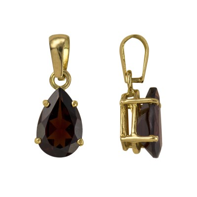 Amante 9ct Gold Natural Garnet Teardrop Pendant