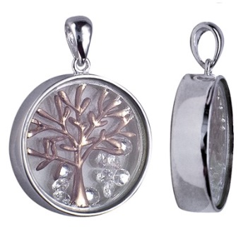 Amante Sterling Silver Enclosed Rose Gold Plated Tree of Life Pendant with Floating Swarovski Crystals