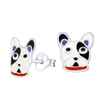 Amante Sterling Silver Black and White Enamel Bulldog Stud Earrings