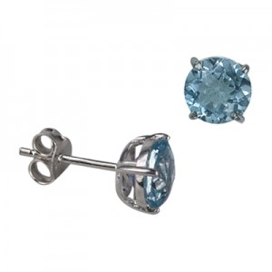 Amante Sterling Silver Round Natural Blue Topaz Stud Earrings
