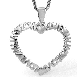 Amante Sterling Silver Love Mum Heart Pendant