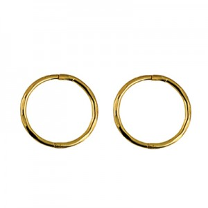 9ct Gold Solid Medium Faceted Sleeper Earrings - 12mm