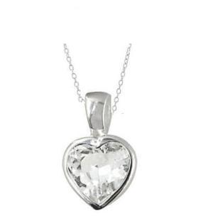 Sterling Silver Sparkling Heart CZ Pendant with Sterling Silver necklace- 45cm