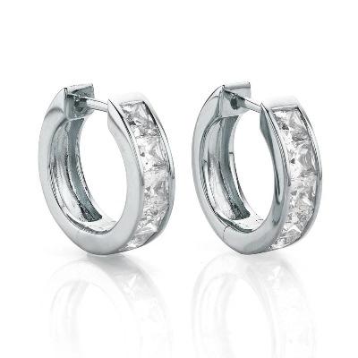 Amante Sterling Silver Swarovski Crystal Huggie Earrings