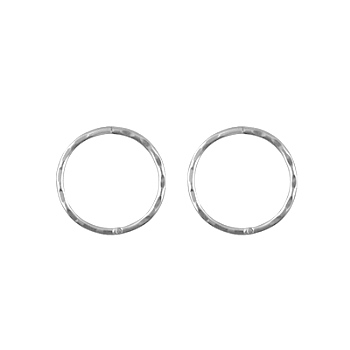 Sterling Silver Solid Faceted Sleeper Earrings -  10mm