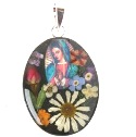 Wildflower Silver Large Virgin Mary Oval Pendant