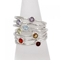Amante Sterling Silver Stackable Natural Stone Chakra Ring Set