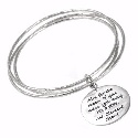 Poetic  Silver Tri Bangle with Disc Charm