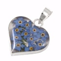 Wildflower Silver Forget Me Not Heart Pendant