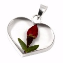 Wildflower Silver Single Rose Heart Pendant