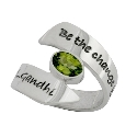 Poetic Pieces Silver Wrap Around Peridot Ring