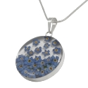 Wildflower Silver Large Forget Me Not Round Pendant
