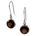 Amante Silver Large Smoky Quartz Natural Beauty Earrings