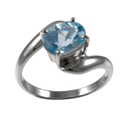 Amante Silver Blue Topaz Simple Pleasures Ring