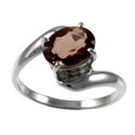 Amante Silver Smoky Quartz Simple Pleasures Ring