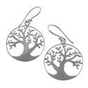 Amante Silver Circular Tree of Life Drop Earrings