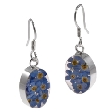 Wildflower Sterling  Silver Forget Me Not Oval Drop Earrings