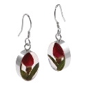 Wildflower Sterling  Silver Single Rose Oval Drop Earrings