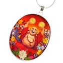 Wildflower Silver Large Laughing Buddha Oval Pendant