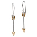 Amante Sterling Silver and Bronze Single Arrow Drop Earrings