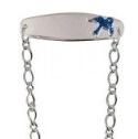 Sterling Silver Bluebird Baby Oval Figaro Baby ID Bracelet -15cm