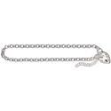 Amante Sterling Silver Round Belcher Bracelet Plain Padlock
