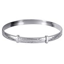 Amante Sterling Silver Solid Emgraved Rope Edge Expanding Bangle