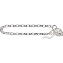 Amante Sterling Silver Oval Belcher Bracelet Plain Padlock