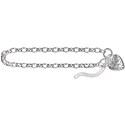 Amante Sterling Silver Oval Belcher Bracelet Filigree Padlock -19cm