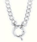Amante Sterling Silver Solid Link Curb Necklace with Euro Bolt Clasp -50cm