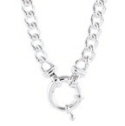 Amante Sterling Solid Link Curb Necklace with Euro Bolt Clasp -50cm
