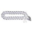 Amante Sterling Silver Round Curb Bracelet with Plain Padlock  -21cm