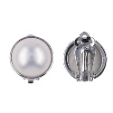 Sterling Silver White Freshwater Pearl Clip On Earring
