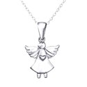 Amante Sterling Silver Angel Pendant with matching Necklace