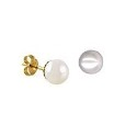 9ct Gold 6mm White Round Freshwater Pearl Stud Earrings