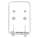 Amante Sterling Silver Set Of 3 Swarovski Crystal Earrings