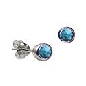 Sterling Silver December Birthstone Stud Earrings