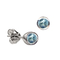 Sterling Silver March Birthstone Stud Earrings