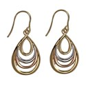 9ct Gold Italian Crafted Three Tone Teardrop Drop Earrings