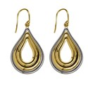 9ct Gold Teardrop Two Tone Drop Earrings