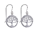 Amante Sterling Silver Swarovski Crystal Tree of Life Drop Earrings