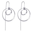 Amante Sterling Silver Double Circle Drop Earrings
