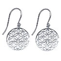 Amante Sterling Silver Flower of Life Drop Earrings