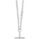 Amante Sterling Silver Oval Belcher Fob Necklace with Albert Swivel Clasp