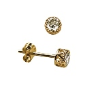 9ct Yellow Gold Filigree Bezel Set Swarovski Crystal Stud Earrings