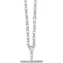 Amante Sterling Silver Solid Link Oval Belcher Fob Necklace with Albert Swivel Clasp -55cm