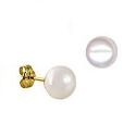 9ct Gold 8mm White Button Freshwater Pearl Stud Earrings