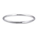 Amante Sterling Silver Solid 5mm Round Golf Bangle - 64mm