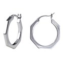 Amante Sterling Silver Heptagon Hoop Earrings