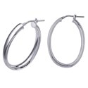 Amante Sterling Silver Medium Italian Polished Oval Hoop Earrings